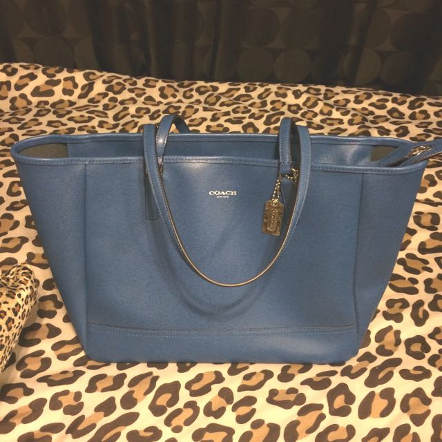 Large Authentic Blue Leather Coach Tote Bag