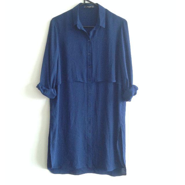 MANGO Essentials Navy Tiered Shirt Dress