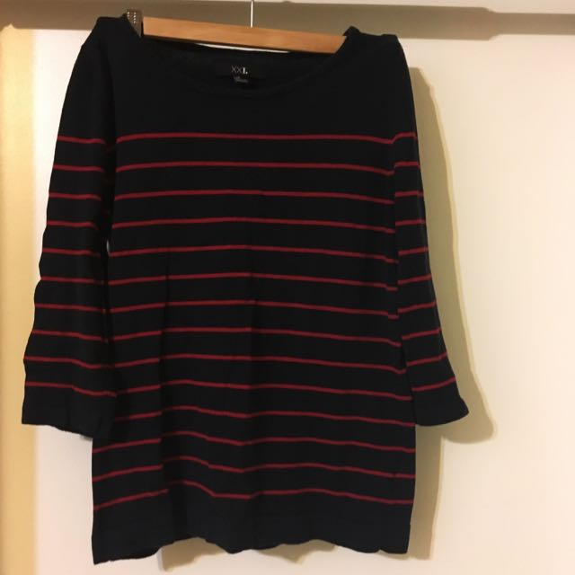 Navy & Red Stripped Sweater