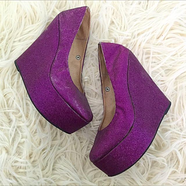 Purple Glitter Wedge
