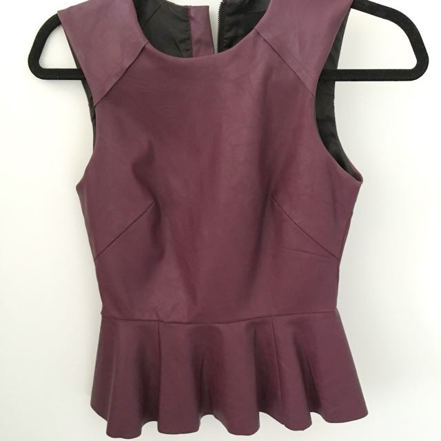 Purple Leather Peplum Top