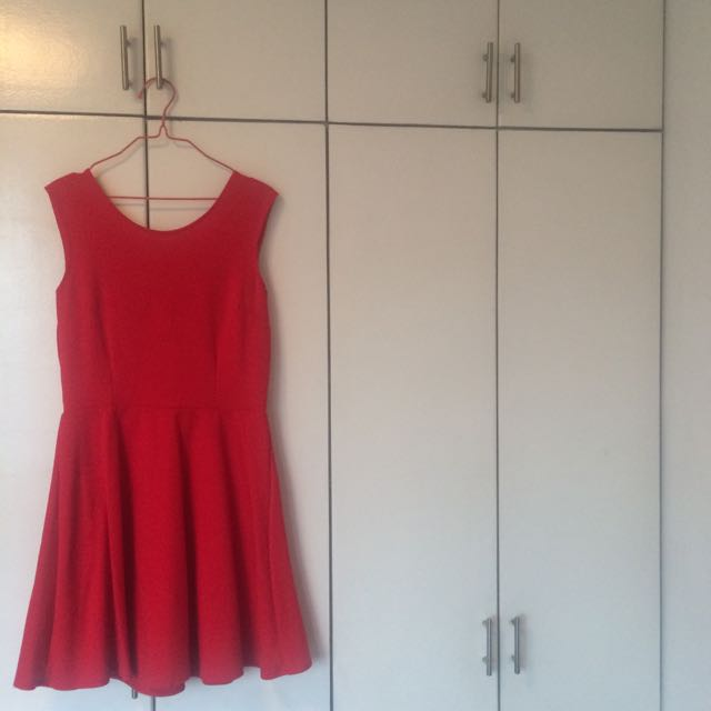 red dress with ribbon at the back