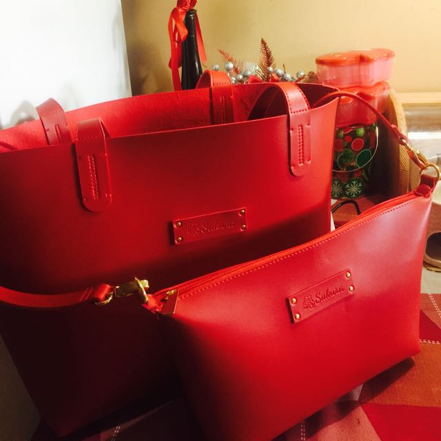 Red Tote & Sling Bag For Sale