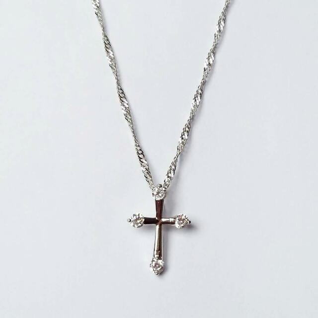 Silver plated cross chain necklace