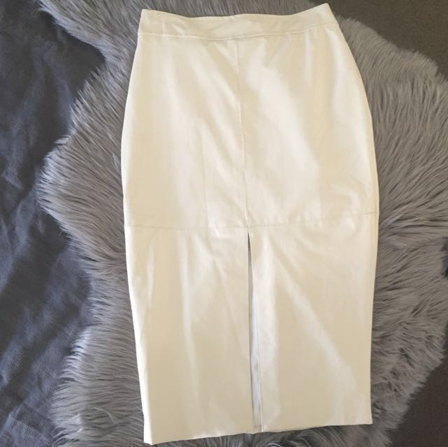 Size 8, White Leather Look Skirt