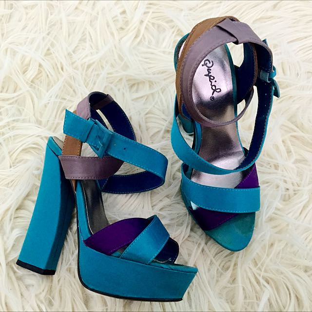 Teal Strappy Heels