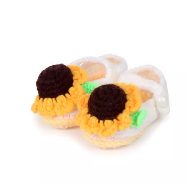 White Sunflower Crochet Shoes