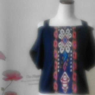 Blouse Navy Blue Kerah Sabrina