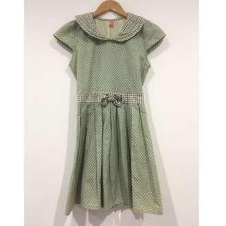 Dress Hijau Polkadot Vintage Pita Korea