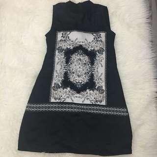 Turtleneck Black Pattern Dress