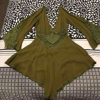 Showpo Playsuit Khaki Cut Outs Size Small