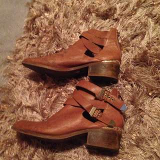 Real Leather Cut Off Booties