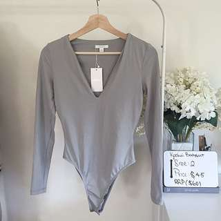 REDUCED Kookai Grey Plunge Bodysuit