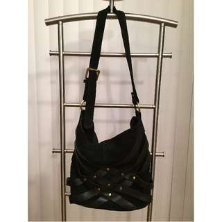 Urban Outfitters Studded Suede & Leather Tote Shoulder Bag (BLACK with Gold Hardware)