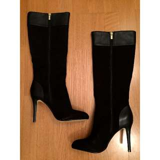 NEW Banana Republic Suede & Leather Heeled Boots (Black, Size 6)