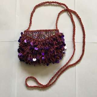 Art Deco Flapper Vintage Gypsy Exotic Turkish Opulent Royal Purple Sequin Sparkle Bling Cocktail Evening Prom Clubbing Purse Clutch Red Garnet Ruby Small With Long Beaded Loop Chain