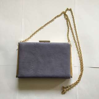 1940 1950 Vintage Look Effect Hard Leather Purple Pastel Amethyst Gold White Champagne Beige Evening Day Cocktail Prom Work Lined Clasp Clutch Purse Bag With Removable Chain