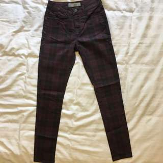 Topshop Checkered Leigh Jeans