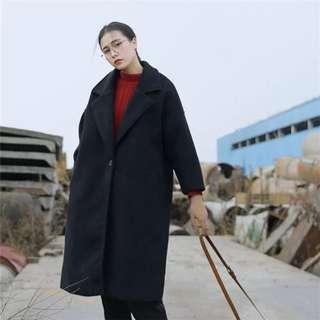 冬季 寬鬆 黑色 長大衣👘