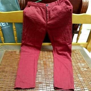 (男款)咖啡紅長褲
