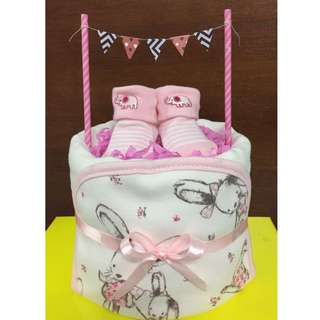 1-tier Newborn Diaper Cake - IT'S A GIRL!