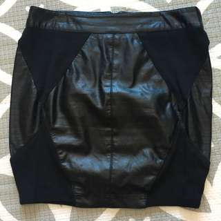 WISH Faux Leather Mini Skirt, Size 8 (XS)