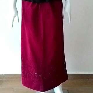 Lovely Wine Red Long Skirt