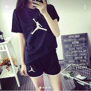 韓版時尚短袖休閒運動套裝