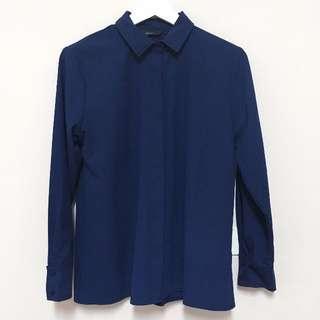 轉賣 Meier Q知性配色車線滾邊襯衫 深藍色 M號