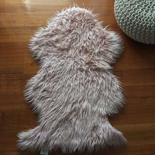 Home & Co. Faux Fur Rug in Pastel Pink