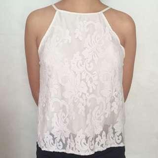 RESERVED! White Floral Halter Top