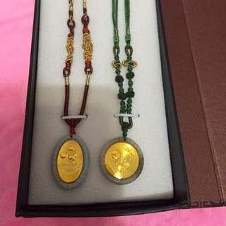 Disney迪士尼80週年慶典藏版可調式玉石金箔限量紀念款項鍊