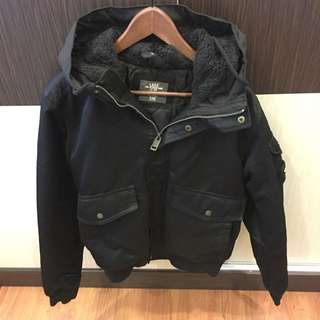 H&M Winter Jacket/Coat With Hood (Black)
