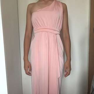 ASOS Single Shoulder Peach Dress - Size 8