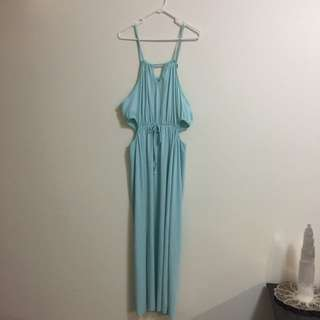 AQUAMARINE BLUE CUT OUT DRESS