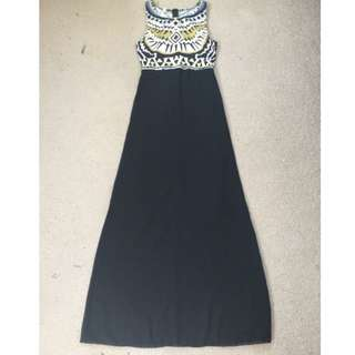 Black Maxi Formal Dress With Patterns Sz M