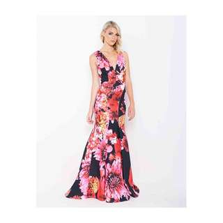 Adriana V-Neck Print Gown - Formal Dress From Bariano Size 14