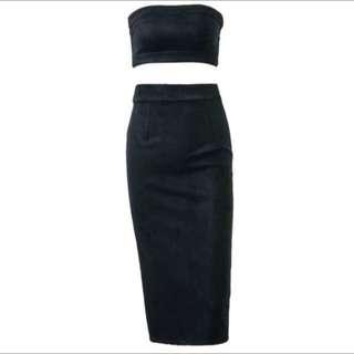 LF> 2 Piece Tube Top & Midi Skirt