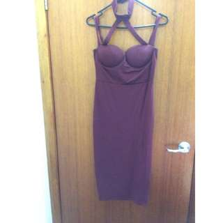 Maroon/burgundy Party Dress Size 8-10