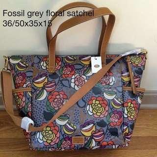 Fossil Keypeer Grey Floral Satchel
