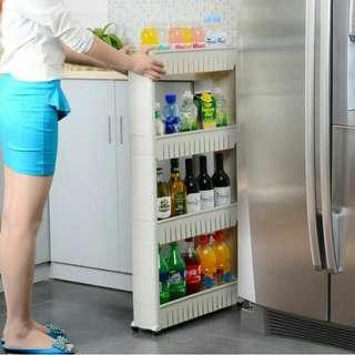 👑預購_創意環保夾縫置物架可移動廚房落地冰箱側邊雜物架