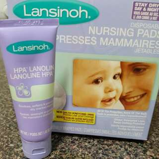brand new pack of disposable nursing pads/Lanolin