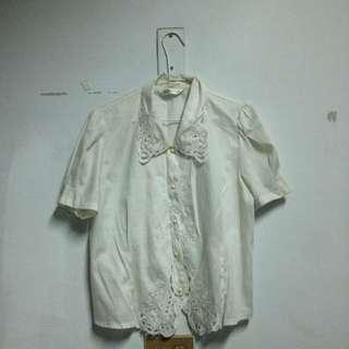 古著 日本刺繡白襯衫
