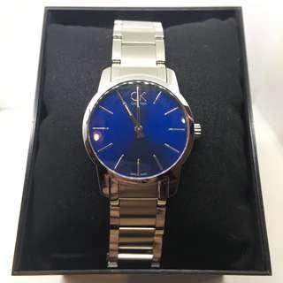 瑞士 Calvin Klein 原廠 精品手錶 藍色鏡面 不鏽鋼錶殼 女錶 中性錶 國際原廠錶盒 原廠說明書 非皮質錶帶