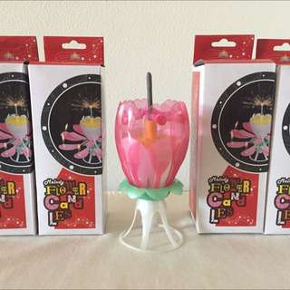 Pink Glitter Musical Lotus Candle with Sparkler Bar with 8 mini candles