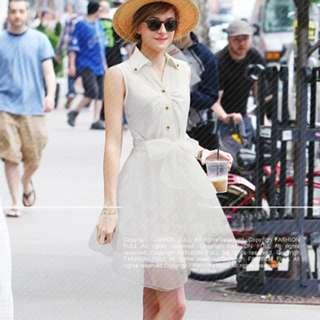 White Sleeveless Collared Chiffon Dress