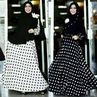 FREE ONGKIR Madeena Syar'i Black white