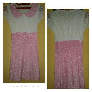 Dress Renda Polkadot Pitta Pink Putih
