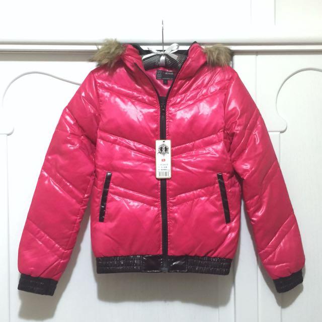 冬日保暖🍒桃紅色羽絨外套
