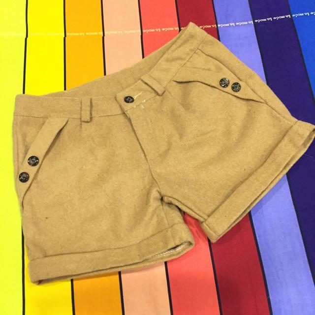 駝色毛料短褲 #兩百元短褲
